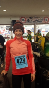 Pretending not to be nervous before the Half Marathon.