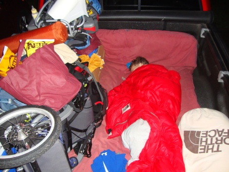 Paavo sleeping in the back of the truck on a futon in the early morning hours of my first 50 mile